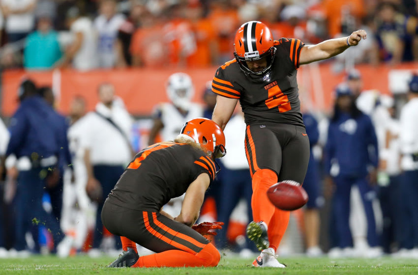 CLEVELAND, OH - SEPTEMBER 22: Austin Seibert #4 of the Cleveland Browns kicks a 35 yard field goal during the second quarter of the game against the Los Angeles Rams at FirstEnergy Stadium on September 22, 2019 in Cleveland, Ohio. (Photo by Kirk Irwin/Getty Images)