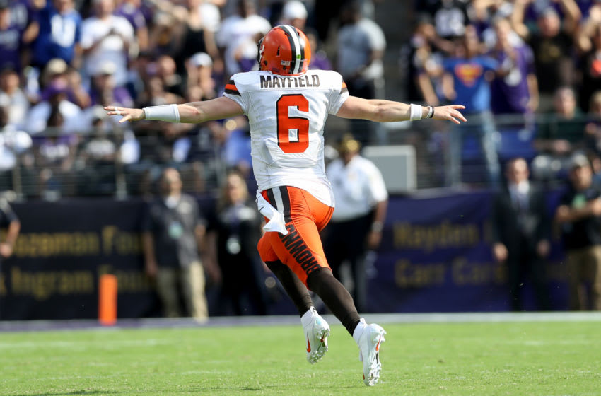 BALTIMORE, MARYLAND - SEPTEMBER 29: Baker Mayfield #6 of the Cleveland Browns celebrates as Nick Chubb #24 (not pictured) rushes for a fourth quarter touchdown against the Baltimore Ravens at M&T Bank Stadium on September 29, 2019 in Baltimore, Maryland. (Photo by Rob Carr/Getty Images)