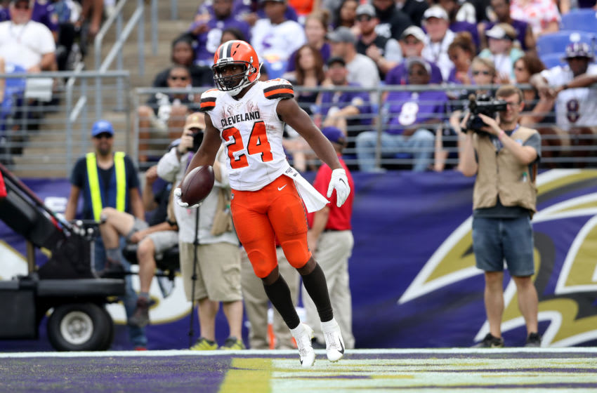 BALTIMORE, MARYLAND - SEPTEMBER 29: Nick Chubb #24 of the Cleveland Browns celebrates after rushing for a second half touchdown against the Baltimore Ravesn at M&T Bank Stadium on September 29, 2019 in Baltimore, Maryland. (Photo by Rob Carr/Getty Images)
