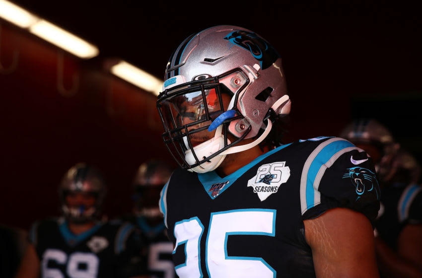 SANTA CLARA, CALIFORNIA - OCTOBER 27: Eric Reid #25 of the Carolina Panthers waits to take the field against the San Francisco 49ers prior to the game at Levi's Stadium on October 27, 2019 in Santa Clara, California. (Photo by Ezra Shaw/Getty Images)