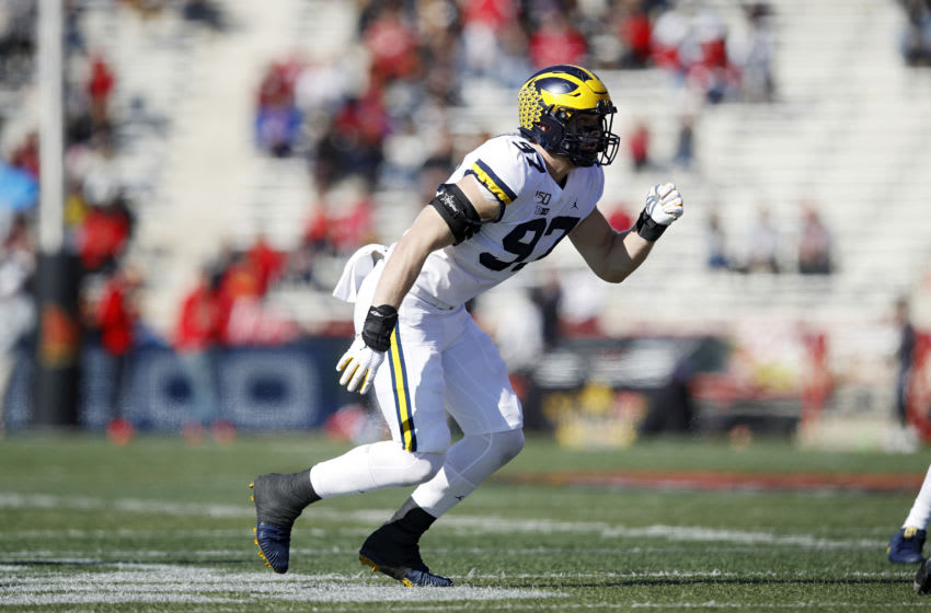 COLLEGE PARK, MD - NOVEMBER 02: Aidan Hutchinson #97 of the Michigan Wolverines in action on defense during a game against the Maryland Terrapins at Capital One Field at Maryland Stadium on November 2, 2019 in College Park, Maryland. Michigan defeated Maryland 38-7. (Photo by Joe Robbins/Getty Images)