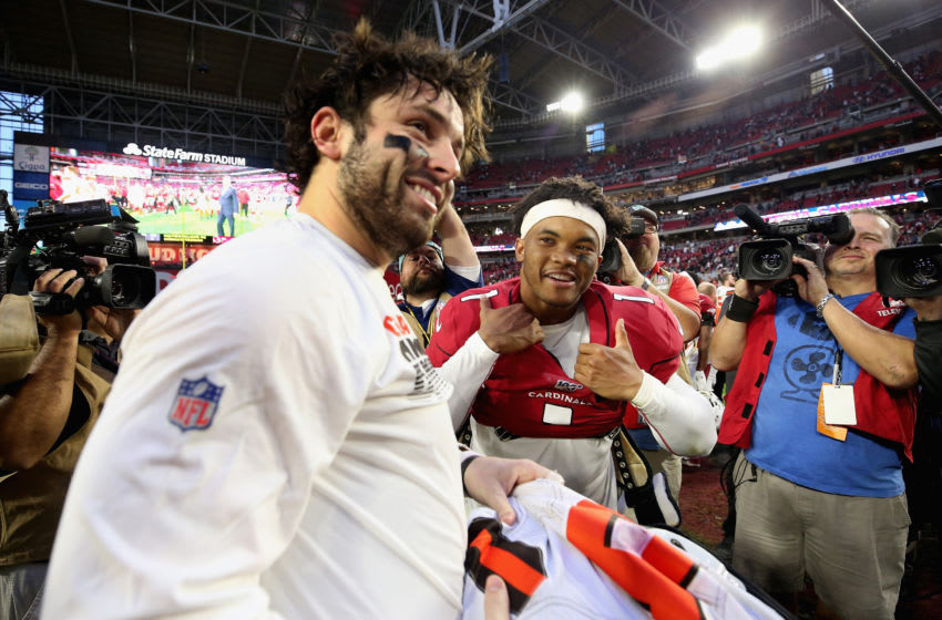 GLENDALE, ARIZONA - DECEMBER 15: Quarterbacks Baker Mayfield #6 of the Cleveland Browns and Kyler Murray #1 of the Arizona Cardinals exchange jerseys following the NFL game at State Farm Stadium on December 15, 2019 in Glendale, Arizona. The Cardinals defeated the Browns 38-24. (Photo by Christian Petersen/Getty Images)