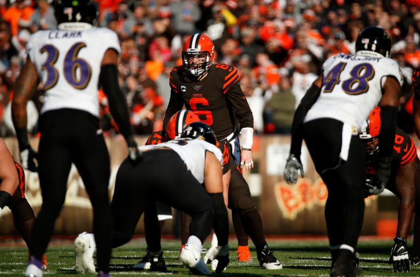 CLEVELAND, OH - DECEMBER 22: Baker Mayfield #6 of the Cleveland Browns lines up for a play during the game against the Baltimore Ravens at FirstEnergy Stadium on December 22, 2019 in Cleveland, Ohio. Baltimore defeated Cleveland 31-15. (Photo by Kirk Irwin/Getty Images)