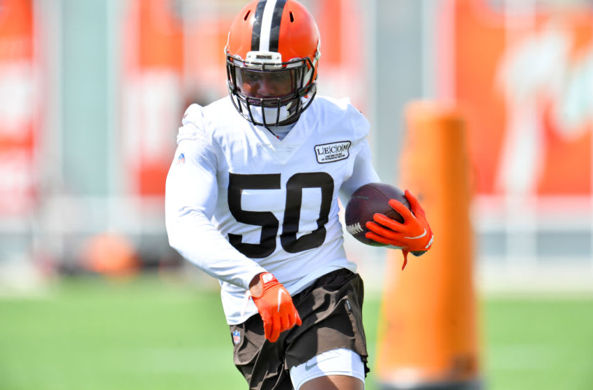 BEREA, OHIO - AUGUST 29: Linebacker Jacob Phillips #50 of the Cleveland Browns works out during training camp at the Browns training facility on August 29, 2020 in Berea, Ohio. (Photo by Jason Miller/Getty Images)