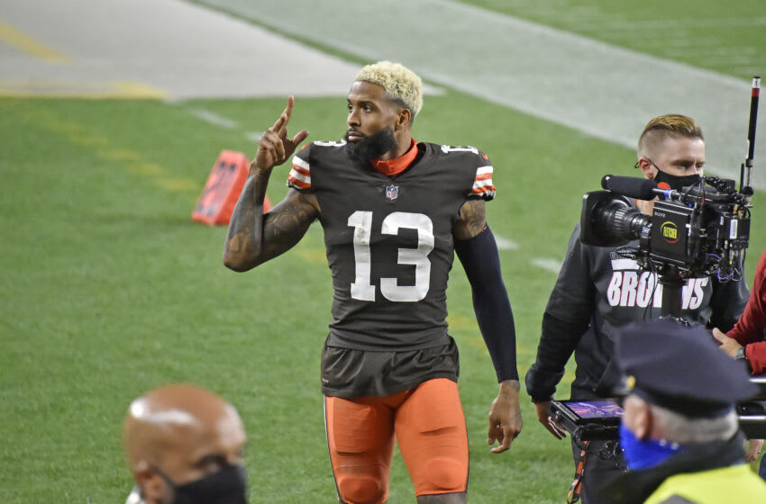 CLEVELAND, OHIO - SEPTEMBER 17: Wide receiver Odell Beckham Jr. #13 of the Cleveland Browns waves to the fans after the game against the Cincinnati Bengals at FirstEnergy Stadium on September 17, 2020 in Cleveland, Ohio. The Browns defeated the Bengals 35-30. (Photo by Jason Miller/Getty Images)