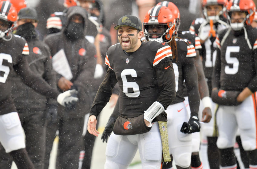 CLEVELAND, OHIO - NOVEMBER 22: Quarterback Baker Mayfield #6 of the Cleveland Browns celebrates with his teammates during player introductions prior to the game against the Philadelphia Eagles at FirstEnergy Stadium on November 22, 2020 in Cleveland, Ohio. (Photo by Jason Miller/Getty Images)