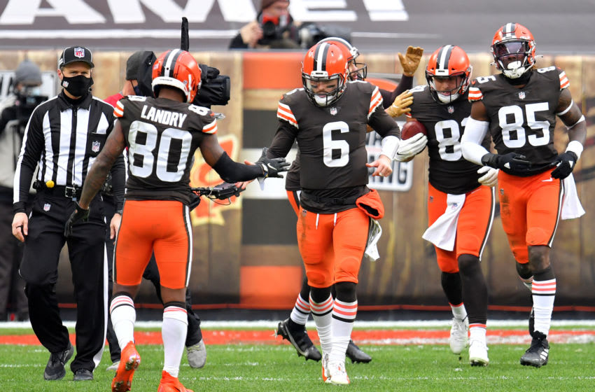 CLEVELAND, OHIO - JANUARY 03: Baker Mayfield #6 of the Cleveland Browns celebrates with Jarvis Landry #80 after a touchdown against the Pittsburgh Steelers in the third quarter at FirstEnergy Stadium on January 03, 2021 in Cleveland, Ohio. (Photo by Jason Miller/Getty Images)