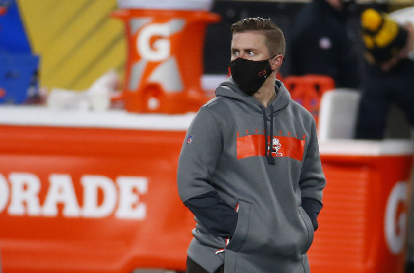 PITTSBURGH, PA - JANUARY 11: Cleveland Browns assistant coach Callie Brownson in action against the Pittsburgh Steelers on January 11, 2021 at Heinz Field in Pittsburgh, Pennsylvania. (Photo by Justin K. Aller/Getty Images)