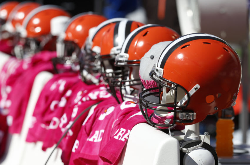 BALTIMORE, MD - OCTOBER 11: Cleveland Browns helmets rest on the bench prior to a game against the Baltimore Ravens at M&T Bank Stadium on October 11, 2015 in Baltimore, Maryland. (Photo by Rob Carr/Getty Images)