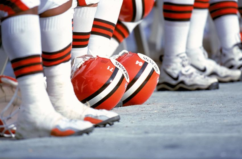 5 Dec 1999: A view of the Cleveland Browns helmets during a game against the San Diego Chargers at the Qualcomm Stadium in San Diego, California. The Chargers defeated the Browns 23-10. Mandatory Credit: Tom Hauck /Allsport