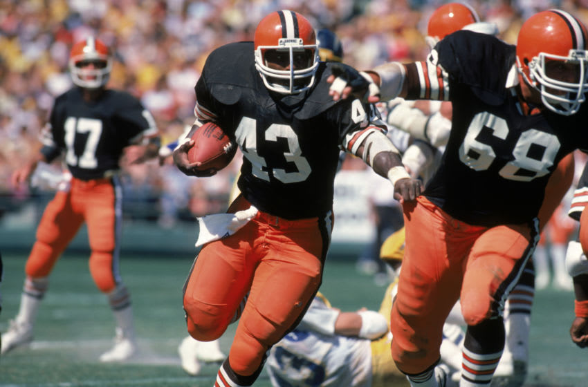 Full back Mike Pruitt #43 of the Cleveland Browns. (Photo by George Rose/Getty Images)
