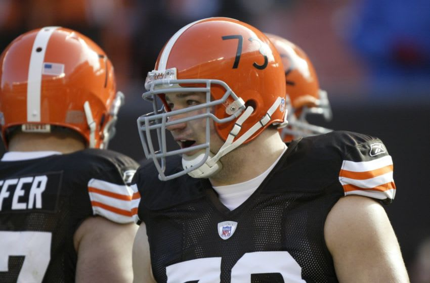 CLEVELAND - NOVEMBER 25: Offensive lineman Joe Thomas #73 of the Cleveland Browns talks with teammates prior to a game against the Houston Texans at Cleveland Browns Stadium on November 25, 2007 in Cleveland, Ohio. The Browns defeated the Texans 27-17. (Photo by George Gojkovich/Getty Images)