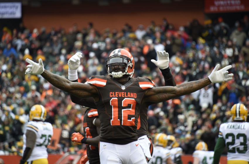 CLEVELAND, OH - DECEMBER 10: Josh Gordon #12 of the Cleveland Browns celebrates a touchdown in the first quarter against the Green Bay Packers at FirstEnergy Stadium on December 10, 2017 in Cleveland, Ohio. (Photo by Jason Miller/Getty Images)