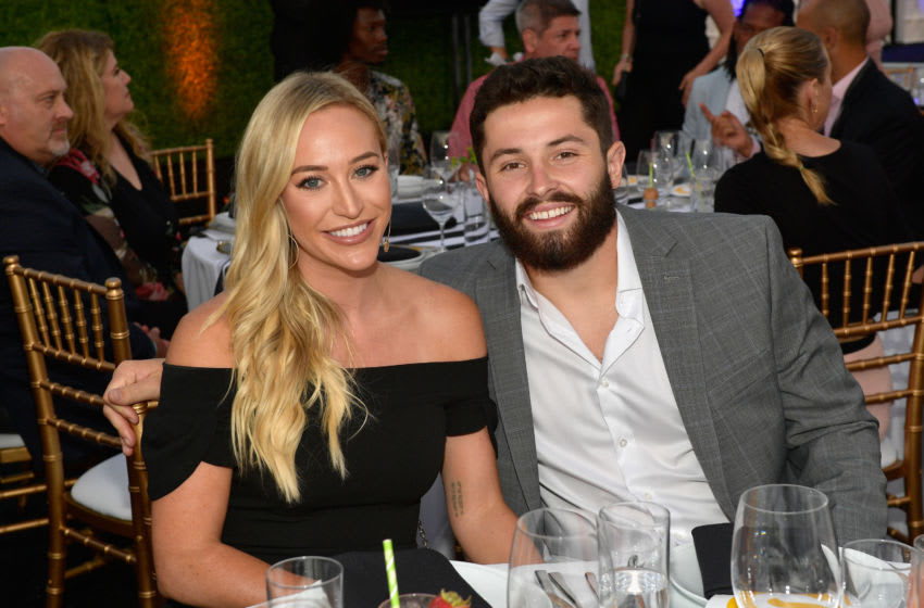 INGLEWOOD, CA - JULY 15: Emily Wilkinson and honoree Baker Mayfield attend the 33rd Annual Cedars-Sinai Sports Spectacular at The Compound on July 15, 2018 in Inglewood, California. (Photo by Matt Winkelmeyer/Getty Images for Sports Spectacular)