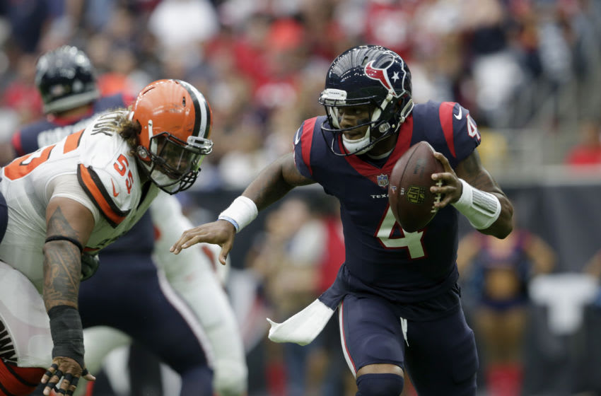 HOUSTON, TX - OCTOBER 15: Deshaun Watson #4 of the Houston Texans is forced to scramble in the second quarter pressured by Danny Shelton #55 of the Cleveland Browns at NRG Stadium on October 15, 2017 in Houston, Texas. (Photo by Tim Warner/Getty Images)