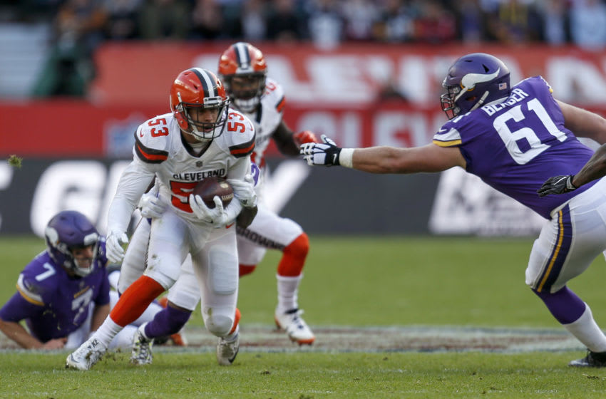 LONDON, ENGLAND - OCTOBER 29: Joe Schobert #53 of the Cleveland Browns intercepts a pass during the NFL International Series match between Minnesota Vikings and Cleveland Browns at Twickenham Stadium on October 29, 2017 in London, England. (Photo by Alan Crowhurst/Getty Images)