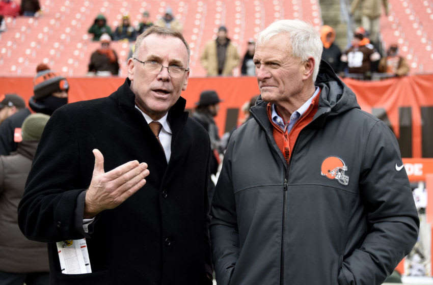 CLEVELAND, OH - DECEMBER 10: New General Manager John Dorsey of the Cleveland Browns is seen with owner Jimmy Haslam before the game against the Green Bay Packers at FirstEnergy Stadium on December 10, 2017 in Cleveland, Ohio. (Photo by Jason Miller/Getty Images)