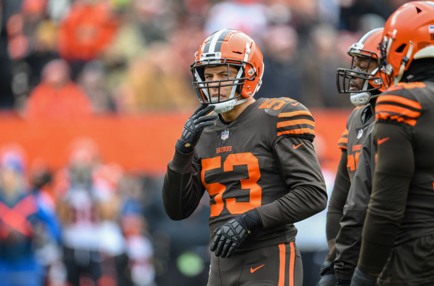 CLEVELAND, OH - DECEMBER 23: Middle linebacker Joe Schobert #53 of the Cleveland Browns during the first half against the Cleveland Browns at FirstEnergy Stadium on December 23, 2018 in Cleveland, Ohio. (Photo by Jason Miller/Getty Images)