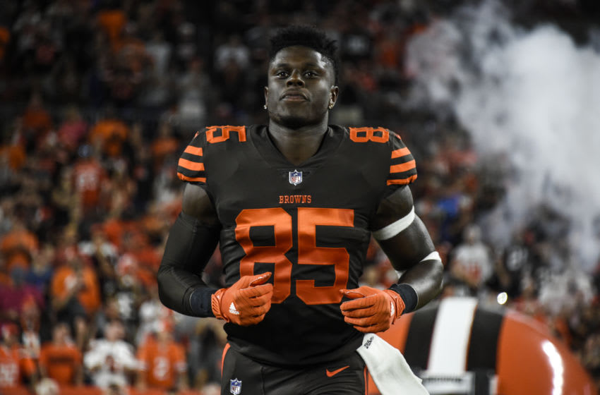 CLEVELAND, OH - SEPTEMBER 20: David Njoku #85 of the Cleveland Browns runs onto the field during the player introduction against the New York Jets at FirstEnergy Stadium on September 20, 2018 in Cleveland, Ohio. (Photo by Jason Miller/Getty Images) David Njoku