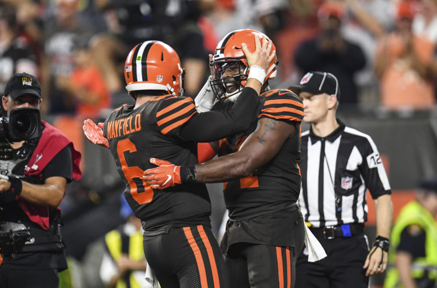 CLEVELAND, OH - SEPTEMBER 20: Carlos Hyde #34 celebrates his touchdown with Baker Mayfield #6 of the Cleveland Browns during the fourth quarter against the New York Jets at FirstEnergy Stadium on September 20, 2018 in Cleveland, Ohio. (Photo by Jason Miller/Getty Images) Baker Mayfield; Carlos Hyde