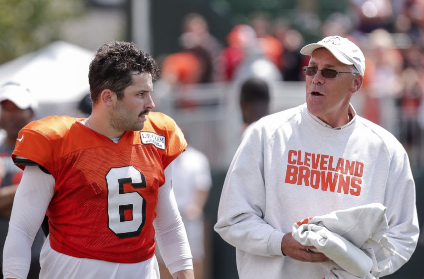 BEREA, OH - AUGUST 5: Quarterback Baker Mayfield and General manager John Dorsey of the Cleveland Browns talk after practice at the Cleveland Browns Training Camp on August 5, 2019 at the Cleveland Browns Training Facility in Berea, Ohio. (Photo by Don Juan Moore/Getty Images)