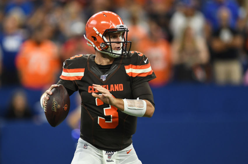 INDIANAPOLIS, INDIANA - AUGUST 17: Garrett Gilbert #3 of the Cleveland Browns drops back to pass during a preseason game against the Indianapolis Colts at Lucas Oil Stadium on August 17, 2019 in Indianapolis, Indiana. (Photo by Stacy Revere/Getty Images)