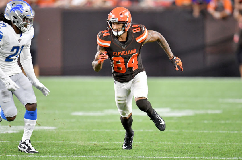 CLEVELAND, OHIO - AUGUST 29: Wide receiver Derrick Willies #84 of the Cleveland Browns during the second half of a preseason game against the Detroit Lions at FirstEnergy Stadium on August 29, 2019 in Cleveland, Ohio. The Browns defeated the Lions 20-16. (Photo by Jason Miller/Getty Images)