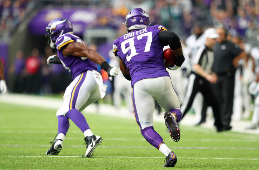 MINNEAPOLIS, MN - OCTOBER 13: Jake Elliott #4 of the Philadelphia Eagles throws an interception picked up by Everson Griffen #97 of the Minnesota Vikings in the second quarter at U.S. Bank Stadium on October 13, 2019 in Minneapolis, Minnesota. (Photo by Adam Bettcher/Getty Images)