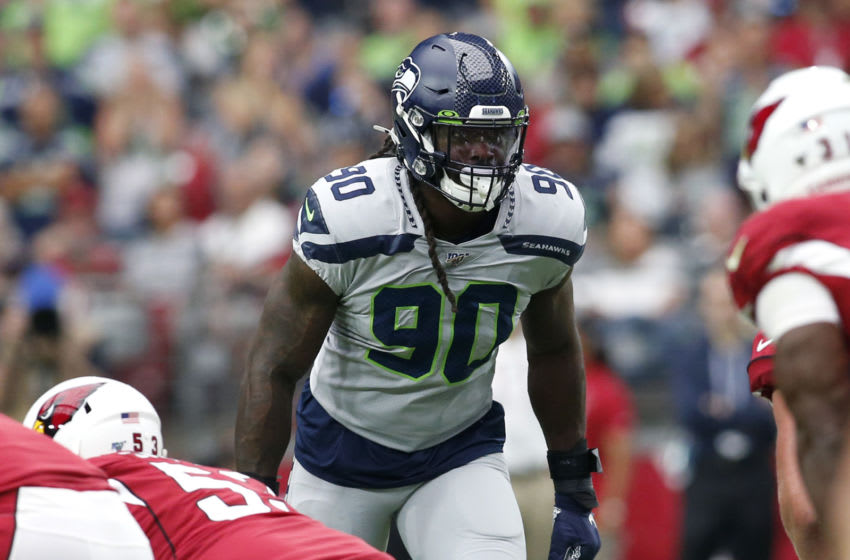 GLENDALE, ARIZONA - SEPTEMBER 29: Defensive end Jadeveon Clowney #90 of the Seattle Seahawks during the first half of the NFL football game against the Arizona Cardinals at State Farm Stadium on September 29, 2019 in Glendale, Arizona. (Photo by Ralph Freso/Getty Images)