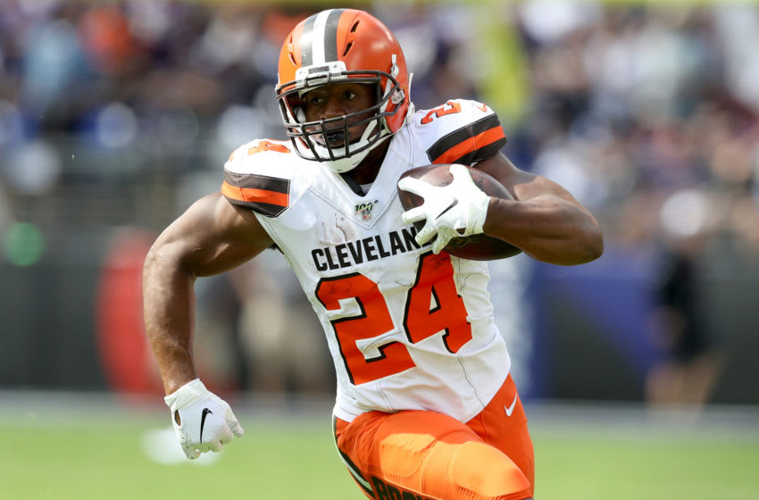 BALTIMORE, MARYLAND - SEPTEMBER 29: Nick Chubb #24 of the Cleveland Browns carries the ball against the Baltimore Ravens at M&T Bank Stadium on September 29, 2019 in Baltimore, Maryland. (Photo by Rob Carr/Getty Images)