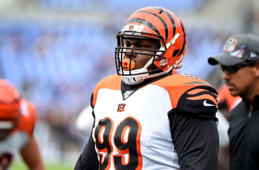 BALTIMORE, MD - OCTOBER 13: Andrew Billings #99 of the Cincinnati Bengals looks on during the first half against the Baltimore Ravens at M&T Bank Stadium on October 13, 2019 in Baltimore, Maryland. (Photo by Will Newton/Getty Images)