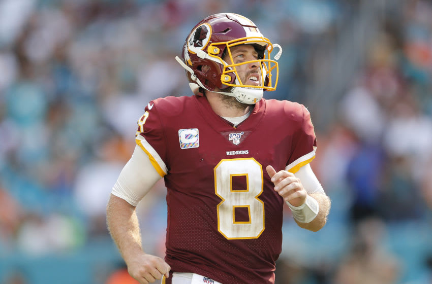 MIAMI, FLORIDA - OCTOBER 13: Case Keenum #8 of the Washington Redskins in action against the Miami Dolphins during the fourth quarter at Hard Rock Stadium on October 13, 2019 in Miami, Florida. (Photo by Michael Reaves/Getty Images)