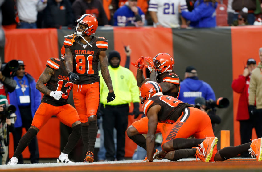 CLEVELAND, OH - NOVEMBER 10: Rashard Higgins #81 of the Cleveland Browns celebrates after catching the game winning touchdown during the fourth quarter of the game against the Buffalo Bills at FirstEnergy Stadium on November 10, 2019 in Cleveland, Ohio. Cleveland defeated Buffalo 19-16. (Photo by Kirk Irwin/Getty Images)