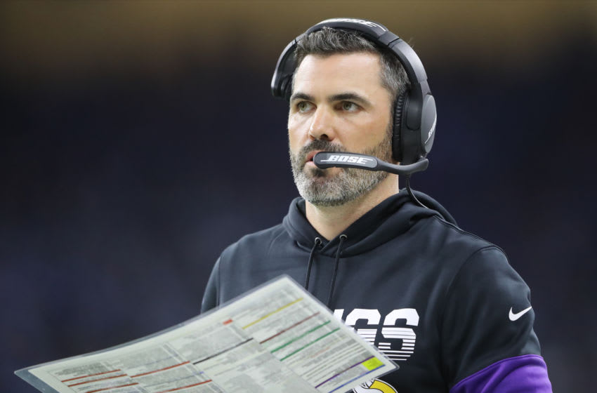 DETROIT, MI - OCTOBER 20: Minnesota Vikings offensive coordinator Kevin Stefanski looks on in the fourth quarter during a game against the Detroit Lions at Ford Field on October 20, 2019 in Detroit, Michigan. (Photo by Rey Del Rio/Getty Images)