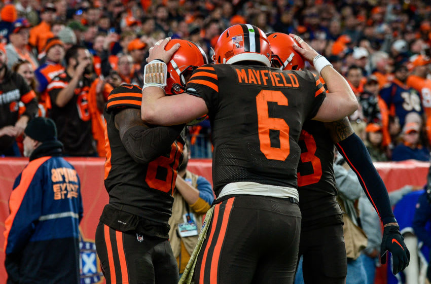 DENVER, CO - NOVEMBER 3: Baker Mayfield #6 of the Cleveland Browns celebrates a fourth quarter touchdown with Jarvis Landry #80 and Odell Beckham #13 during a game against the Denver Broncos at Empower Field at Mile High on November 3, 2019 in Denver, Colorado. (Photo by Dustin Bradford/Getty Images)