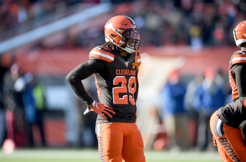 CLEVELAND, OHIO - NOVEMBER 24: Defensive back Sheldrick Redwine #29 of the Cleveland Browns pauses on the field during the first half against the Miami Dolphins at FirstEnergy Stadium on November 24, 2019 in Cleveland, Ohio. (Photo by Jason Miller/Getty Images)