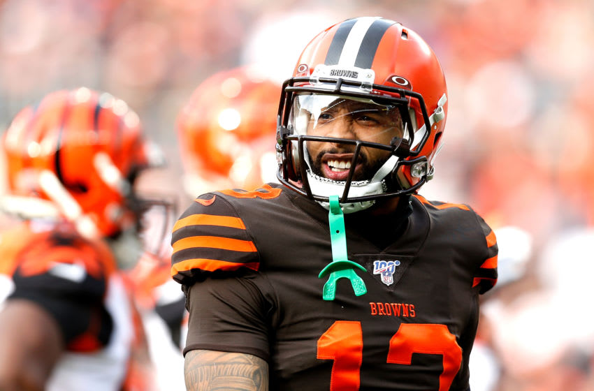 CLEVELAND, OH - DECEMBER 8: Odell Beckham Jr. #13 of the Cleveland Browns walks back to the line of scrimmage during the game against the Cincinnati Bengals at FirstEnergy Stadium on December 8, 2019 in Cleveland, Ohio. (Photo by Kirk Irwin/Getty Images)