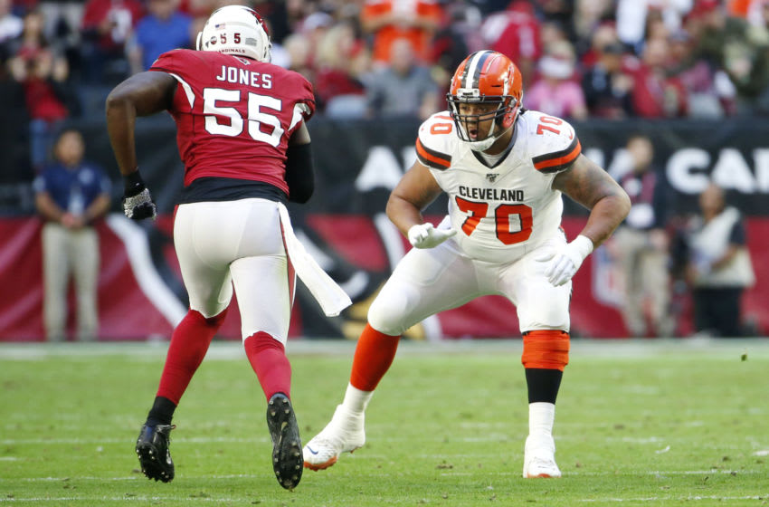 GLENDALE, ARIZONA - DECEMBER 15: Offensive lineman Kendall Lamm #70 of the Cleveland Browns during the first half of the NFL football game against the Arizona Cardinals at State Farm Stadium on December 15, 2019 in Glendale, Arizona. (Photo by Ralph Freso/Getty Images)