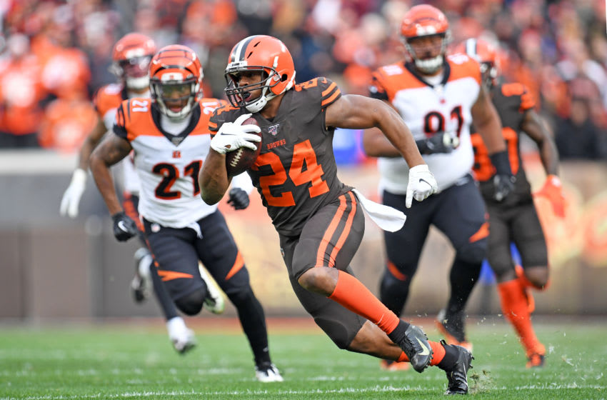 CLEVELAND, OHIO - DECEMBER 08: Running back Nick Chubb #24 of the Cleveland Browns runs for a gain during the second half against the Cincinnati Bengals at FirstEnergy Stadium on December 08, 2019 in Cleveland, Ohio. The Browns defeated the Bengals 27-19. (Photo by Jason Miller/Getty Images)