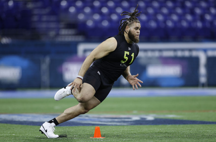 INDIANAPOLIS, IN - FEBRUARY 28: Offensive lineman Jedrick Wills Jr. of Alabama runs a drill during the NFL Combine at Lucas Oil Stadium on February 28, 2020 in Indianapolis, Indiana. (Photo by Joe Robbins/Getty Images)
