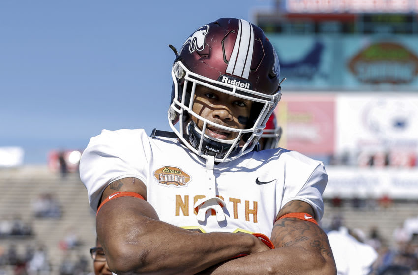 MOBILE, AL - JANUARY 25: Safety Jeremy Chinn #22 from Southern Illinois of the North Team before the start of the 2020 Resse's Senior Bowl at Ladd-Peebles Stadium on January 25, 2020 in Mobile, Alabama. The Noth Team defeated the South Team 34 to 17. (Photo by Don Juan Moore/Getty Images)