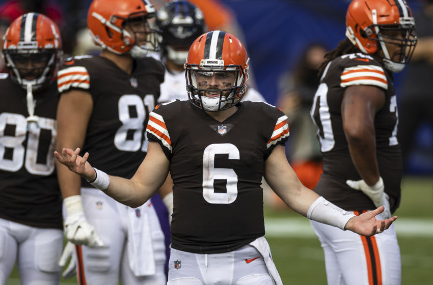 BALTIMORE, MD - SEPTEMBER 13: Baker Mayfield #6 of the Cleveland Browns reacts to a call during the second half of the game against the Baltimore Ravens at M&T Bank Stadium on September 13, 2020 in Baltimore, Maryland. (Photo by Scott Taetsch/Getty Images)