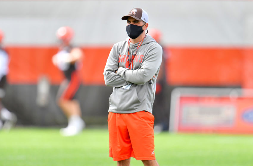 BEREA, OHIO - AUGUST 29: Head coach Kevin Stefanski of the Cleveland Browns watches during training camp at the Browns training facility on August 29, 2020 in Berea, Ohio. (Photo by Jason Miller/Getty Images)