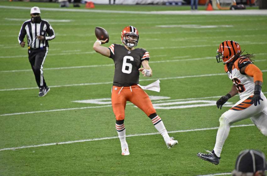 CLEVELAND, OHIO - SEPTEMBER 17: Quarterback Baker Mayfield #6 of the Cleveland Browns passes during the second quarter against the Cincinnati Bengals at FirstEnergy Stadium on September 17, 2020 in Cleveland, Ohio. The Browns defeated the Bengals 35-30. (Photo by Jason Miller/Getty Images)