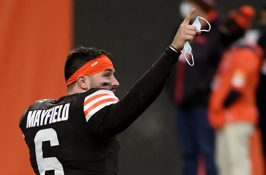 CLEVELAND, OHIO - JANUARY 03: Baker Mayfield #6 of the Cleveland Browns celebrates after defeating the Pittsburgh Steelers 24-22 at FirstEnergy Stadium on January 03, 2021 in Cleveland, Ohio. (Photo by Nic Antaya/Getty Images)