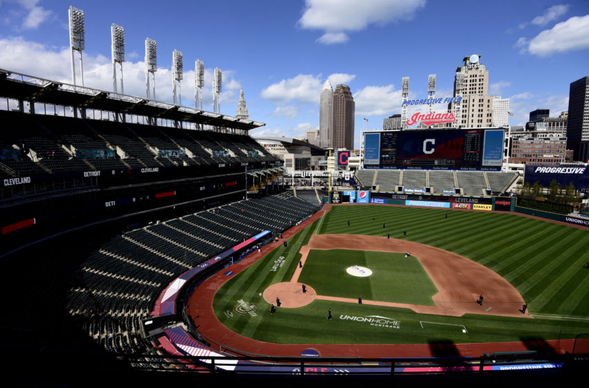 CLEVELAND, OHIO - APRIL 11: A general view of Progressive Field prior to a game between the Cleveland Indians and Detroit Tigers on April 11, 2021 in Cleveland, Ohio. (Photo by Emilee Chinn/Getty Images)