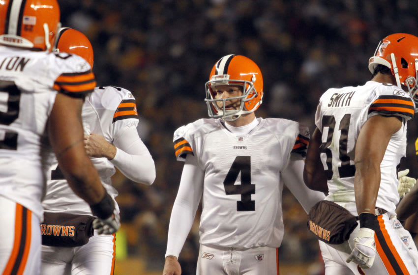 PITTSBURGH, PA - DECEMBER 8: Phil Dawson #4 of the Cleveland Browns celebrates his first half field goal against the Pittsburgh Steelers during the game on December 8, 2011 at Heinz Field in Pittsburgh, Pennsylvania. (Photo by Justin K. Aller/Getty Images)