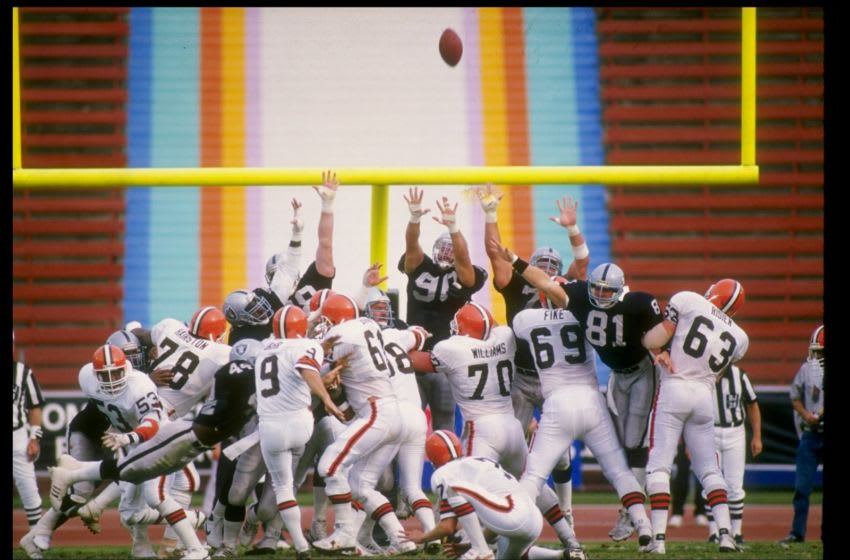 1987: Place kicker Matt Bahr of the Cleveland Browns kicks a field goal during a game against the Los Angeles Raiders at the Los Angeles Memorial Coliseum in Los Angeles, California. Mandatory Credit: Allsport /Allsport