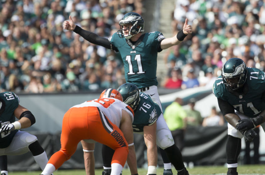 PHILADELPHIA, PA - SEPTEMBER 11: Carson Wentz #11 of the Philadelphia Eagles calls a play at the line of scrimmage in the third quarter against the Cleveland Browns at Lincoln Financial Field on September 11, 2016 in Philadelphia, Pennsylvania. The Eagles defeated the Browns 29-10. (Photo by Mitchell Leff/Getty Images)