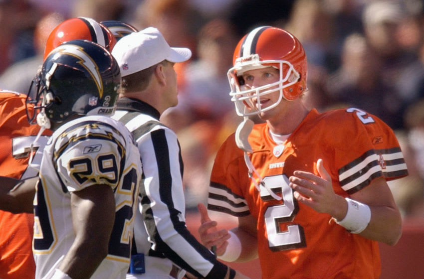 CLEVELAND, OH - OCTOBER 19: Quarterback Tim Couch #2 of the Cleveland Browns talks with an official during the game against the San Diego Chargers on October 19, 2003 at Cleveland Browns Stadium in Cleveland, Ohio. The Chargers defeated the Browns 26-20. (Photo by David Maxwell/Getty Images)